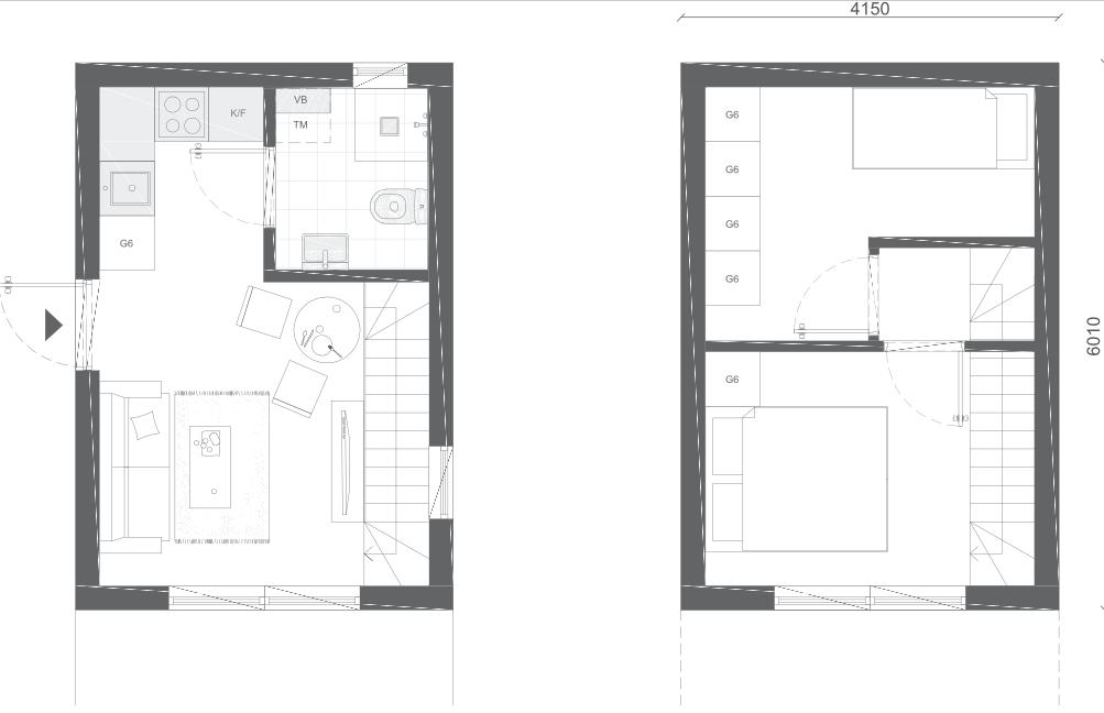 Ritning attefallshus med källare